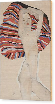Act Against Colored Material Wood Print by Egon Schiele