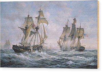 Action Between U.s. Sloop-of-war 'wasp' And H.m. Brig-of-war 'frolic' Wood Print by Richard Willis