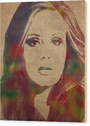 Adele Watercolor Portrait Wood Print