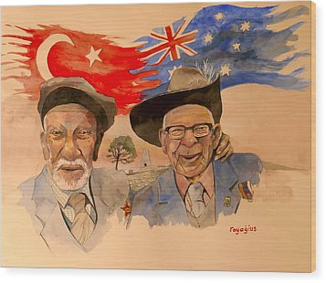Wood Print featuring the painting Adil Sahin And Len Hall by Ray Agius