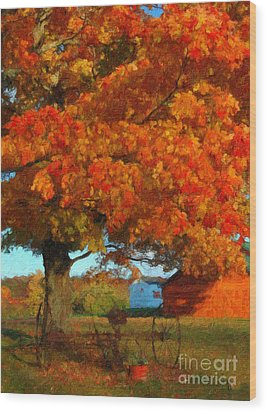 Wood Print featuring the painting Adirondack Autumn Color Brush by Diane E Berry