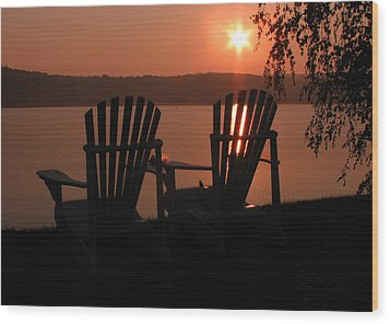 Adirondack Chairs-1 Wood Print by Michael Mooney