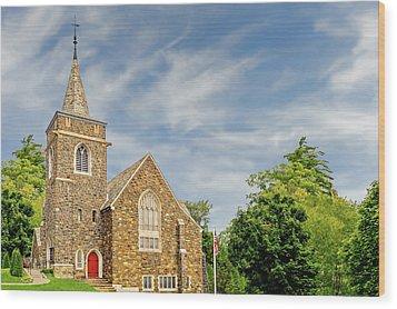 Wood Print featuring the photograph Adirondack Community Church Lake Placid New York  -  1927adirondackcommunity172553 by Frank J Benz