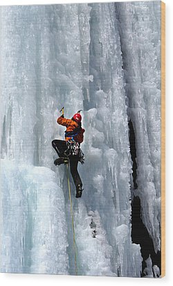 Adirondack Ice Climber  Wood Print by Brendan Reals