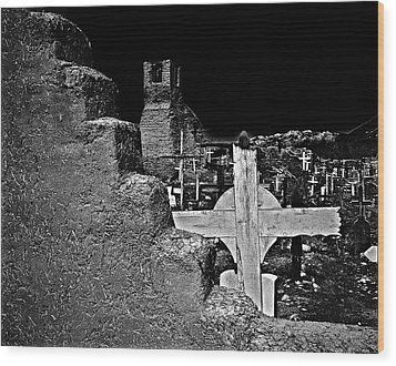 Adobe And The Cross Wood Print by Dennis Sullivan