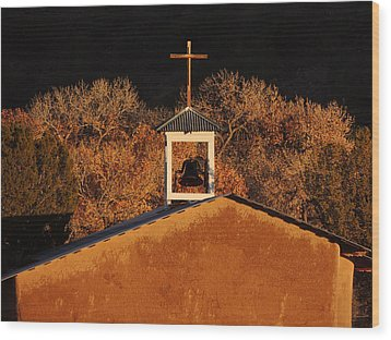 Adobe Church At San Ildefonso Pueblo In Northern New Mexico Wood Print