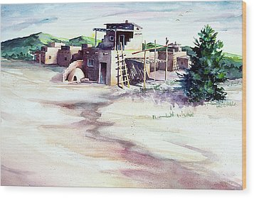 Adobe Pueblo Wood Print by Connie Williams