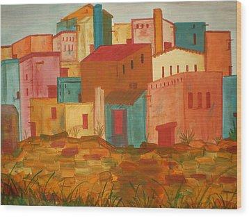 Adobe Village Wood Print by Judi Goodwin