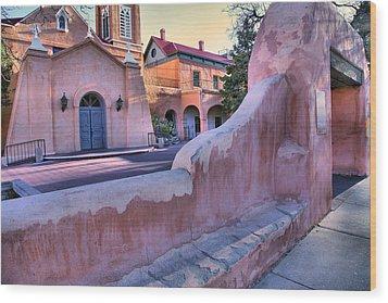 Adobe Wall And Felipe De Neri Church Wood Print by Steven Ainsworth