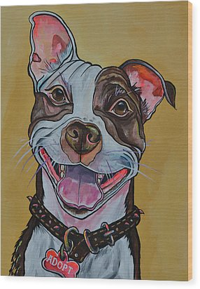 Wood Print featuring the painting Adopt A Pit Bull by Patti Schermerhorn