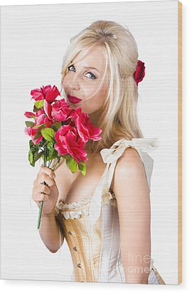 Adorable Florist Woman Smelling Red Flowers Wood Print by Jorgo Photography - Wall Art Gallery