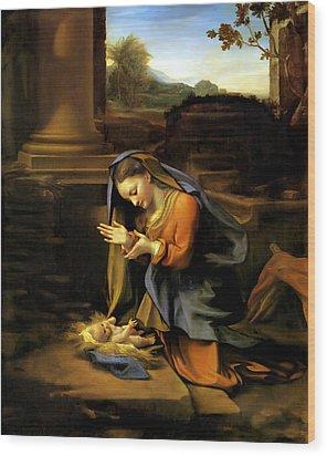 Adoration Of The Child Wood Print by Correggio