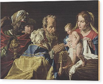 Adoration Of The Magi  Wood Print by Matthias Stomer