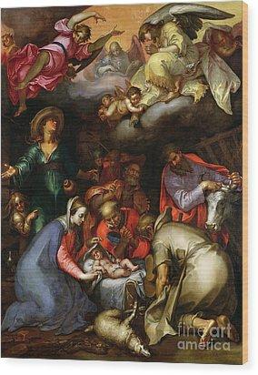Adoration Of The Shepherds Wood Print by Abraham Bloemaert
