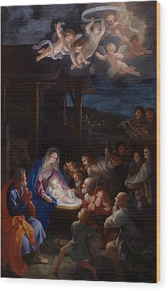 Adoration Of The Shepherds Wood Print by Guido Reni