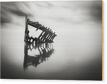 Adrift At Sea In Black And White Wood Print