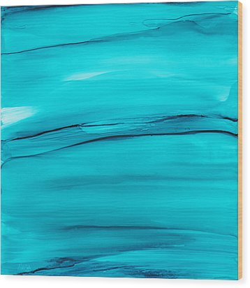 Wood Print featuring the painting Adrift In A Sea Of Blues Abstract by Nikki Marie Smith