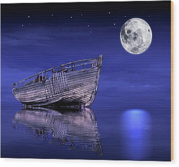 Wood Print featuring the photograph Adrift In The Moonlight - Old Fishing Boat by Gill Billington