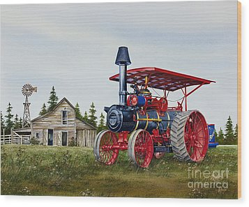 Wood Print featuring the painting Advance Rumely Steam Traction Engine by James Williamson