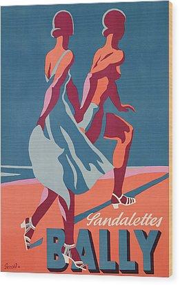 Advertisement For Bally Sandals Wood Print by Druck Gebr