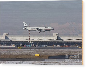 Wood Print featuring the photograph Aegean Airbus A320 003 - Sx-dvt by Amos Dor
