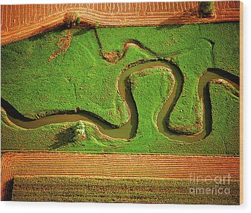 Aerial Farm Stream Wood Print
