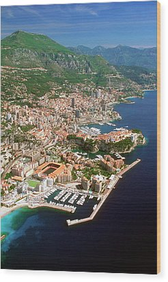 Aerial View Of A City, Monte Carlo, Monaco, France Wood Print by Medioimages/Photodisc