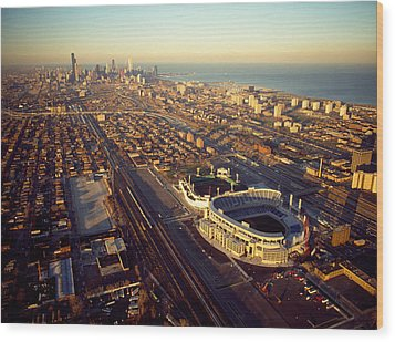 Aerial View Of A City, Old Comiskey Wood Print by Panoramic Images