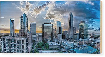 Aerial View Of Charlotte City Skyline At Sunset Wood Print by Alex Grichenko