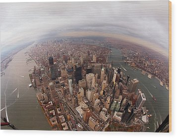 Aerial View Of City Wood Print by Eric Bowers Photo