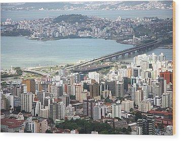 Aerial View Of Florianópolis Wood Print by DircinhaSW