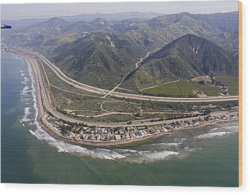 Aerial View Of Highway 1 As It Meets Wood Print by Rich Reid
