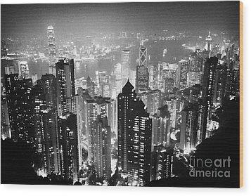 Aerial View Of Hong Kong Island At Night From The Peak Hksar China Wood Print by Joe Fox