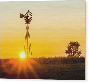 Wood Print featuring the photograph Aermotor Sunset by Chris Bordeleau