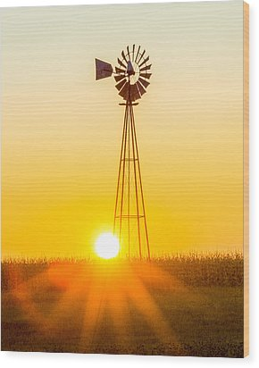 Wood Print featuring the photograph Aermotor Sunset Vertical by Chris Bordeleau
