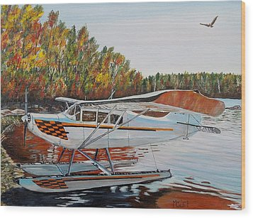 Wood Print featuring the painting Aeronca Super Chief 0290 by Marilyn  McNish