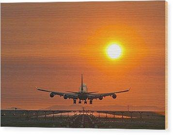 Aeroplane Landing At Sunset Wood Print by David Nunuk