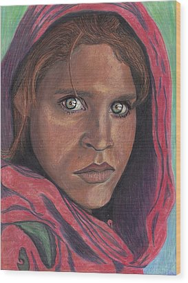 Afghan Girl Wood Print by Jean Haynes