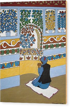 Wood Print featuring the painting Afghan Mosque by Stephanie Moore