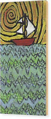 Afloat On The Bubbling Sea Wood Print