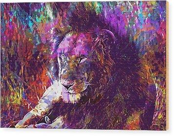 Wood Print featuring the digital art Africa Safari Tanzania Bush Mammal  by PixBreak Art