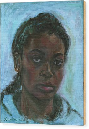 Wood Print featuring the painting African American 15 by Xueling Zou