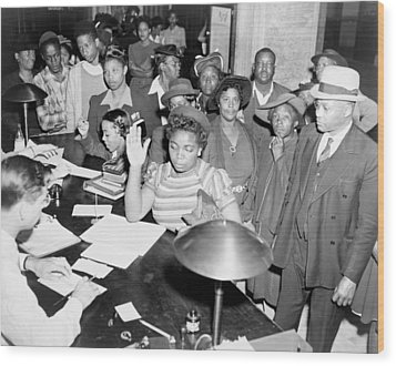 African Americans Lined Up To Register Wood Print by Everett