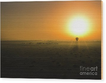 Wood Print featuring the photograph African Balloon Sunrise by Karen Lewis