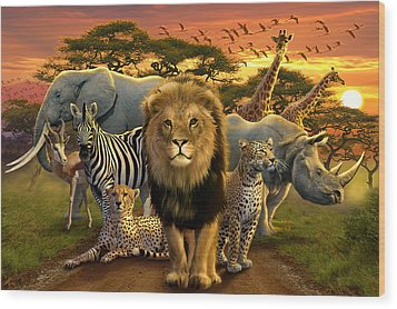 African Beasts Wood Print by Andrew Farley