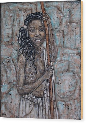 African Beauty I Wood Print by Rain Ririn