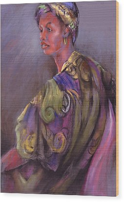 African Beauty Wood Print