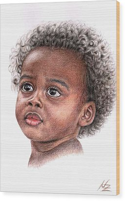 African Child Wood Print by Nicole Zeug