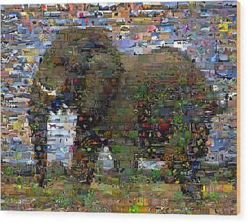 Wood Print featuring the mixed media African Elephant Wild Animal Mosaic by Paul Van Scott