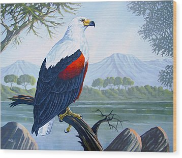 Wood Print featuring the painting African Fish Eagle by Anthony Mwangi